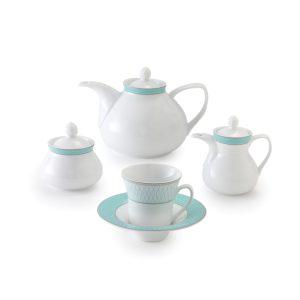 سرویس چینی زرین ۶ نفره چای خوری ژانتی فیروزه ای (۱۸ پارچه)
