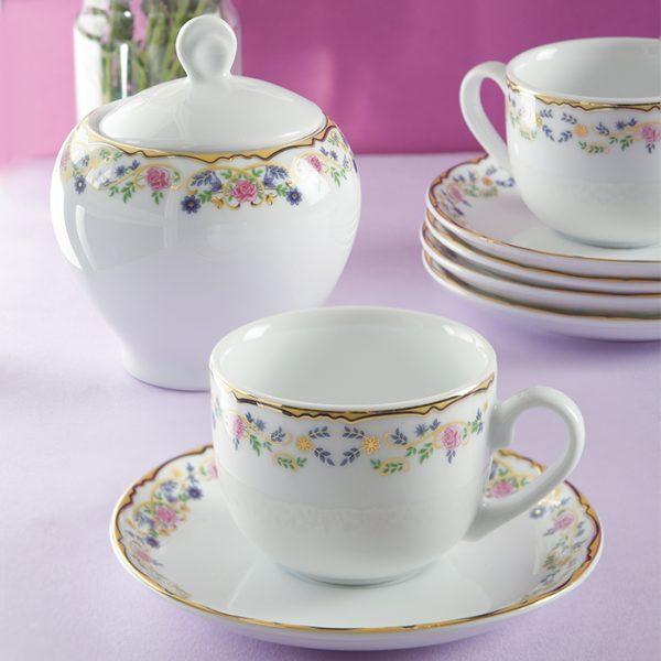 سرویس چینی زرین 6 نفره چای خوری گلستان (14 پارچه)