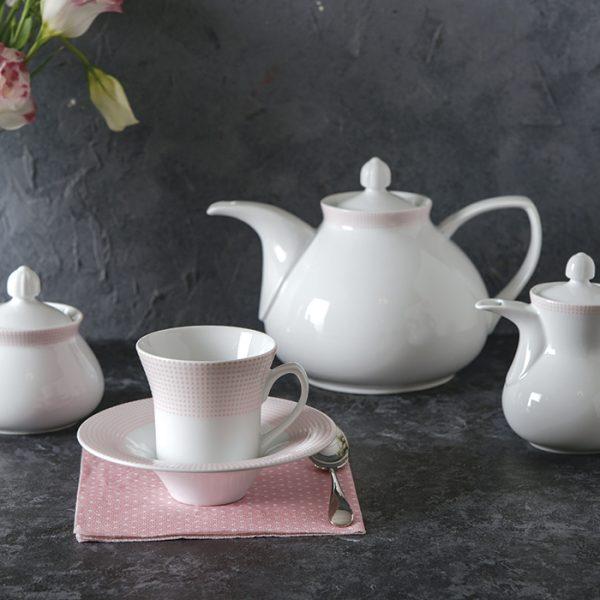 سرویس چینی زرین 6 نفره چای خوری مریدین صورتی (12 پارچه)
