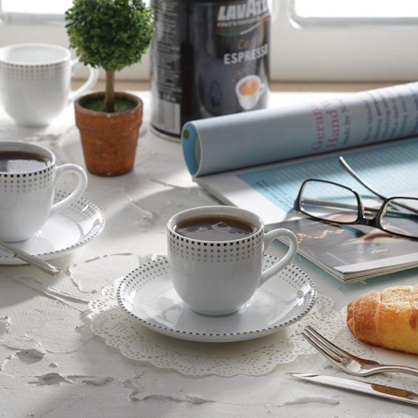 سرویس چینی زرین 6 نفره قهوه خوری مون بلان مشکی (12 پارچه)