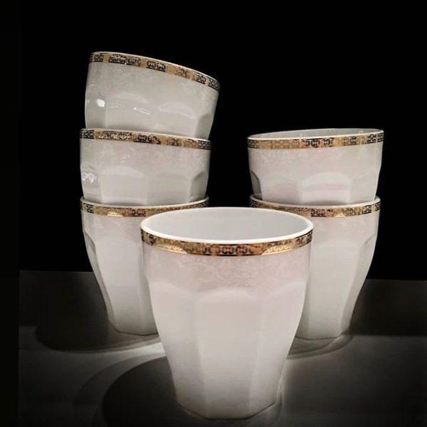 سرویس چینی زرین 6 نفره لیوان نئوکلاسیک ریوا طلایی (6 پارچه)