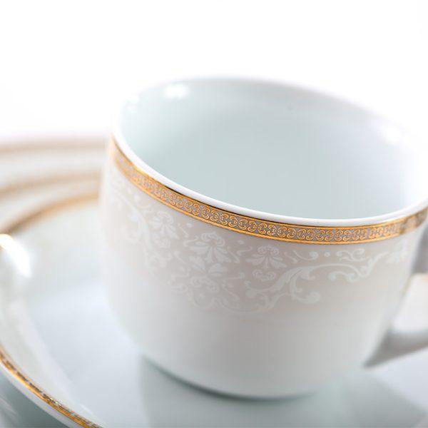 سرویس چینی زرین 6 نفره چای خوری ریوا طلایی (12 پارچه)
