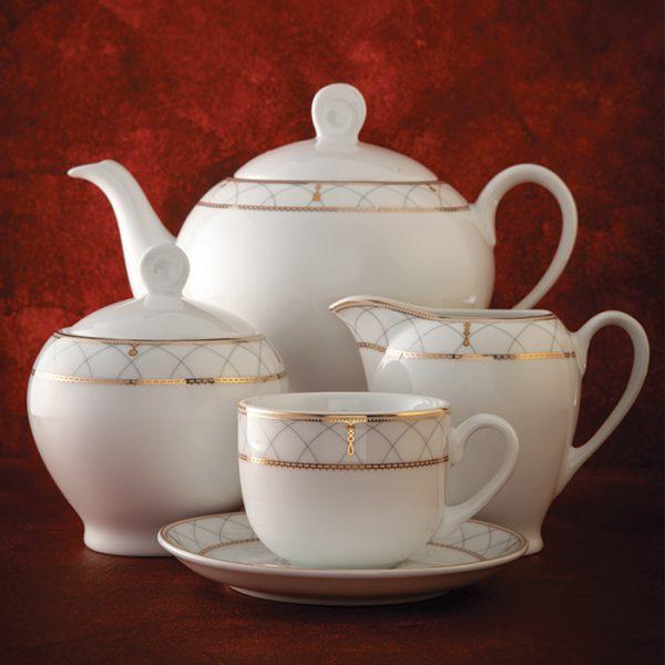 سرویس چینی زرین 6 نفره چای خوری رومانا (17 پارچه)