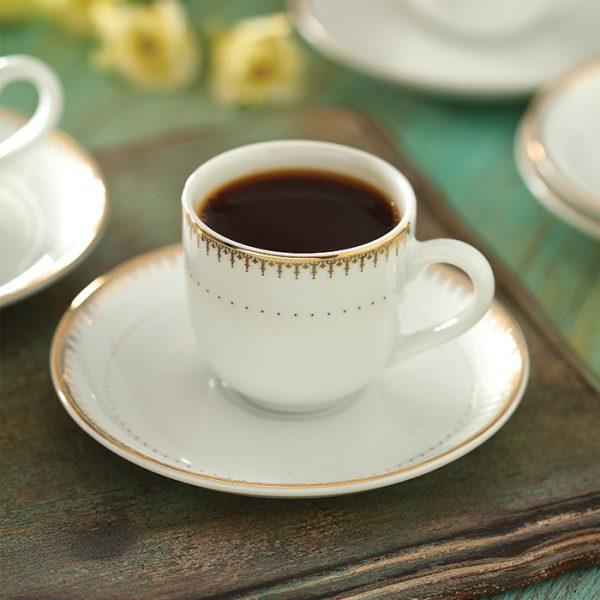 سرویس چینی زرین 6 نفره قهوه خوری سپیدار (12 پارچه)