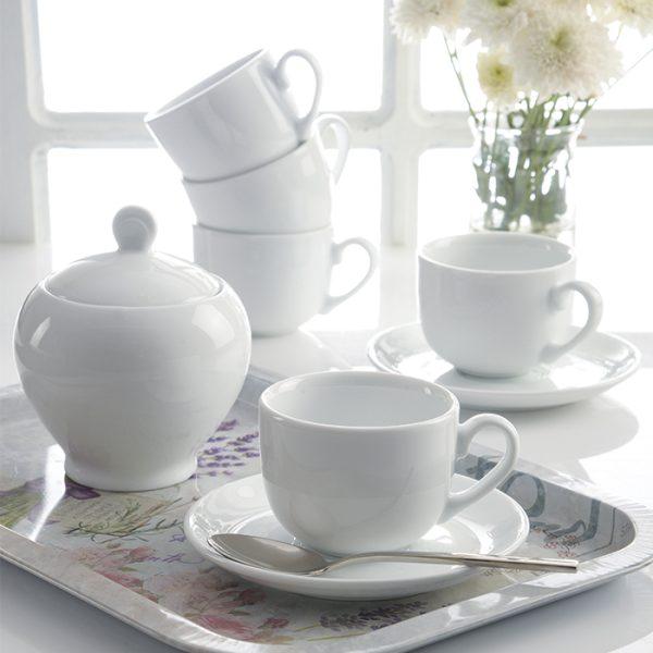 سرویس چینی زرین 6 نفره چای خوری سفید (14 پارچه)