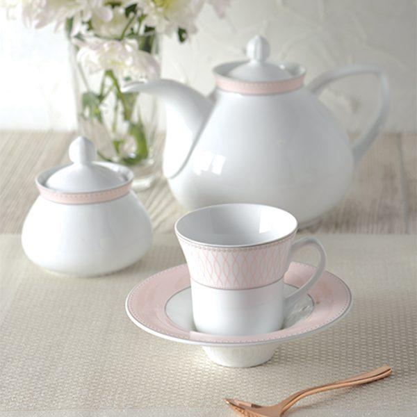 سرویس چینی زرین 6 نفره چای خوری ژانتی صورتی (12 پارچه)