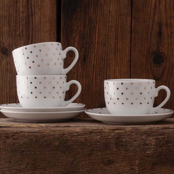 سرویس چینی زرین 6 نفره چای خوری اسپاتی طلایی (12 پارچه)
