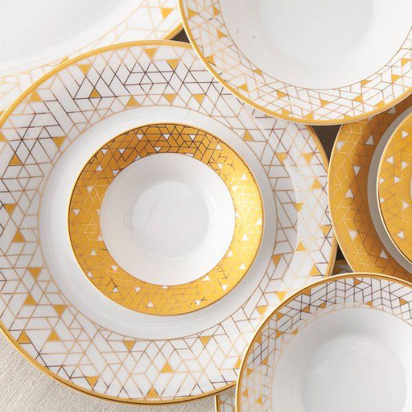 سرویس چینی زرین 6 نفره غذاخوری ژئومتریکال طلایی (35 پارچه)