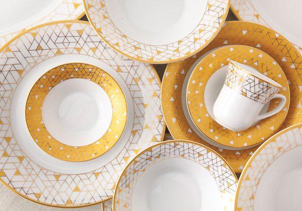 سرویس چینی زرین 12 نفره کامل ژئومتریکال طلایی (108 پارچه)