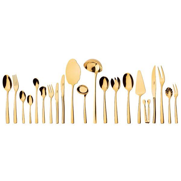 سرویس قاشق و چنگال 18 نفره ناب استیل طرح فلورانس طلایی PVD (136 پارچه)