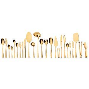 سرویس قاشق و چنگال 24 نفره ناب استیل طرح فلورانس طلایی PVD (158 پارچه)