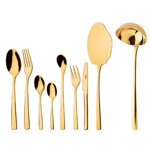 سرویس قاشق و چنگال 12 نفره ناب استیل طرح فلورانس طلایی PVD (57 پارچه)