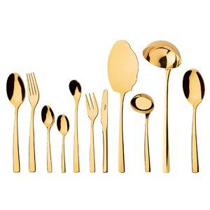 سرویس قاشق و چنگال 18 نفره ناب استیل طرح فلورانس طلایی PVD (86 پارچه) بعلاوه کنسول چوبی