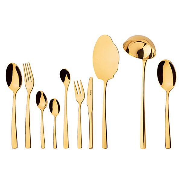 سرویس قاشق و چنگال 24 نفره ناب استیل طرح فلورانس طلایی PVD (98 پارچه)