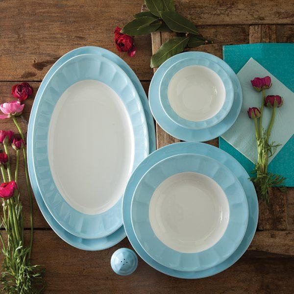 سرویس چینی زرین 6 نفره غذاخوری پاستل آبی (29 پارچه)