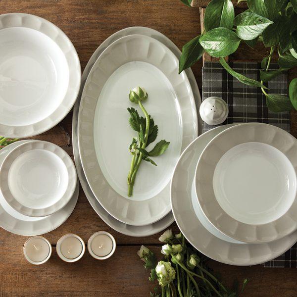 سرویس چینی زرین 6 نفره غذاخوری پاستل طوسی (29 پارچه)