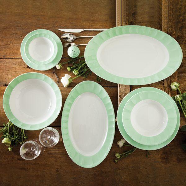 سرویس چینی زرین 6 نفره غذاخوری پاستل سبز (29 پارچه)