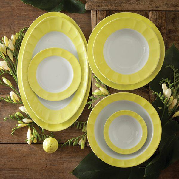 سرویس چینی زرین 6 نفره غذاخوری پاستل لیمویی (29 پارچه)