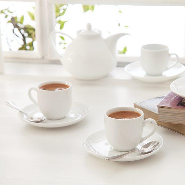 سرویس چینی زرین 6 نفره قهوه خوری سفید (12 پارچه)
